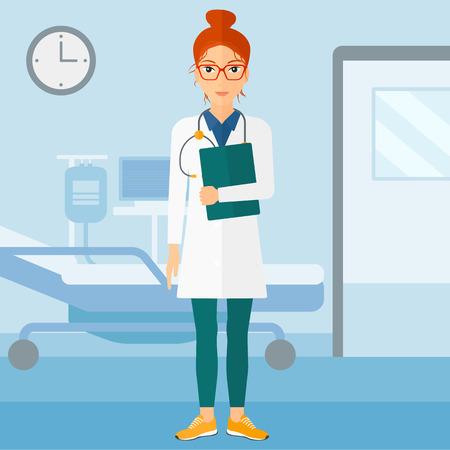 Een gelukkig arts met een stethoscoop en een bestand op de achtergrond van de ziekenzaal vector platte ontwerp illustratie. Vierkante lay-out.