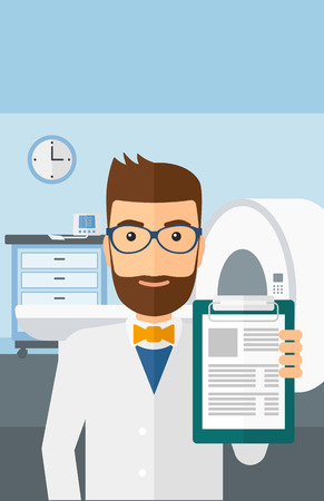 mri: A doctor holding medical notepad on the background of hospital room with MRI machine vector flat design illustration. Vertical layout.