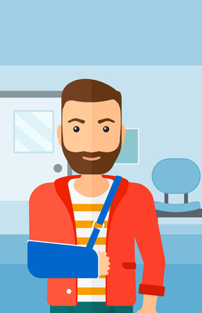 hospital corridor: A hipster man with broken arm in bandages standing on the background of hospital corridor vector flat design illustration. Vertical layout.