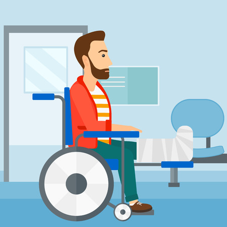 sprain: A hipster man with broken leg sitting in wheelchair on a background of hospital corridor vector flat design illustration. Square layout.
