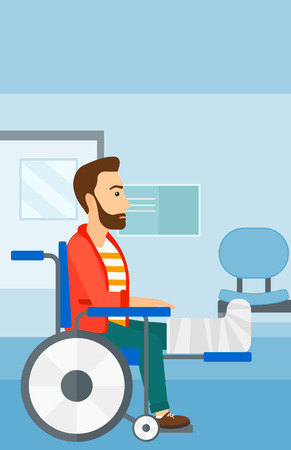 leg bandage: A hipster man with broken leg sitting in wheelchair on a background of hospital corridor vector flat design illustration. Vertical layout. Illustration