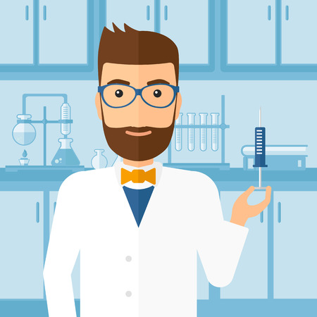 injector: A doctor holding the syringe with medication on the background of laboratory vector flat design illustration. Square layout. Illustration