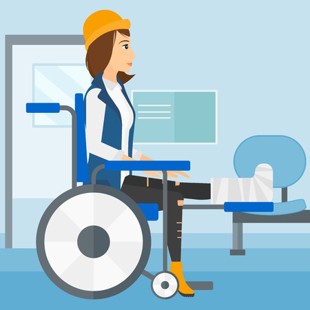 corridor: A woman with broken leg sitting in wheelchair on a background of hospital corridor vector flat design illustration. Square layout.