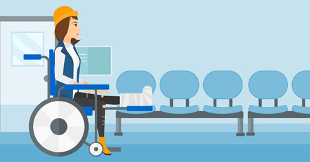 sprain: A woman with broken leg sitting in wheelchair on a background of hospital corridor vector flat design illustration. Horizontal layout.