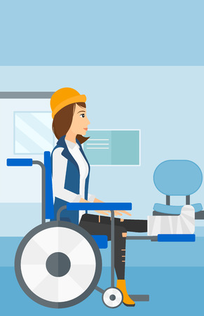 A woman with broken leg sitting in wheelchair on a background of hospital corridor vector flat design illustration. Vertical layout.