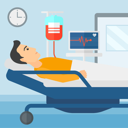hospital ward: A man lying in hospital ward with heart rate monitor while blood transfusion is running vector flat design illustration. Square layout.