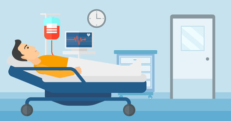 transfusion: A man lying in hospital ward with heart rate monitor while blood transfusion is running vector flat design illustration. Horizontal layout.