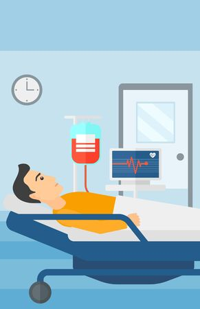 ward: A man lying in hospital ward with heart rate monitor while blood transfusion is running vector flat design illustration. Vertical layout. Illustration