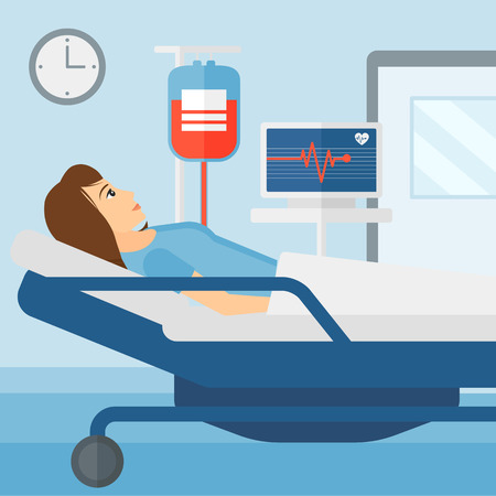 heart monitor: A woman lying in hospital ward with heart rate monitor while blood transfusion is running vector flat design illustration. Square layout.
