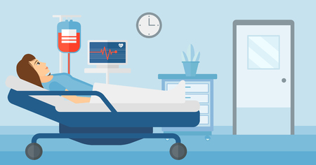 lying in: A woman lying in hospital ward with heart rate monitor while blood transfusion is running vector flat design illustration. Horizontal layout.