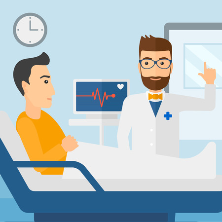recovering: Doctor taking care of patient in the hospital ward with heart rate monitor vector flat design illustration. Square layout. Illustration