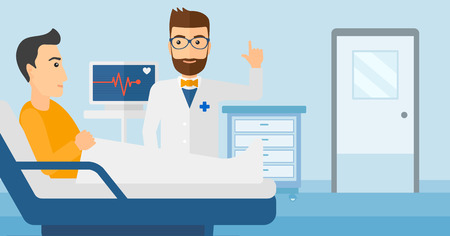 finger cartoon: Doctor taking care of patient in the hospital ward with heart rate monitor vector flat design illustration.  Horizontal layout.