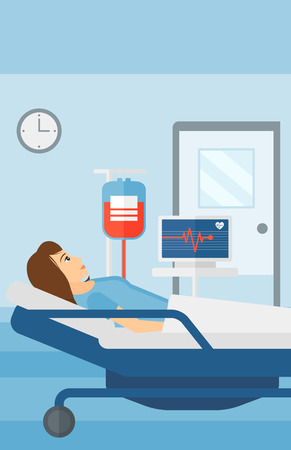 lying in: A woman lying in hospital ward with heart rate monitor while blood transfusion is running vector flat design illustration. Vertical layout. Illustration