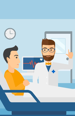 recovering: Doctor taking care of patient in the hospital ward with heart rate monitor vector flat design illustration.  Vertical layout. Illustration