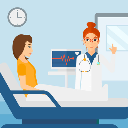 Doctor taking care of patient in the hospital ward with heart rate monitor vector flat design illustration.  Square layout.