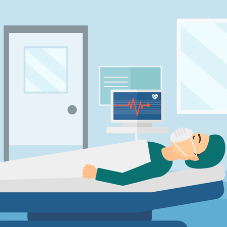 oxygen mask: A man in oxygen mask lying in hospital ward with heart rate monitor vector flat design illustration. Square layout.