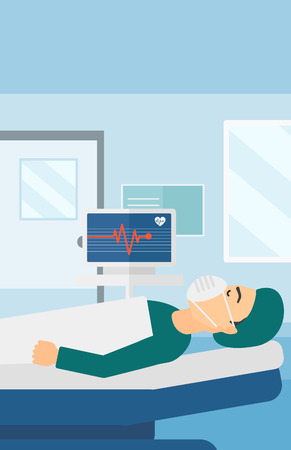 oxygen mask: A man in oxygen mask lying in hospital ward with heart rate monitor vector flat design illustration. Vertical layout.