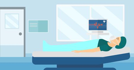 oxygen mask: A woman in oxygen mask lying in hospital ward with heart rate monitor vector flat design illustration. Horizontal layout. Illustration