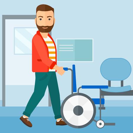 Een hipster man met de baard duwen lege rolstoel op de achtergrond van het ziekenhuisgang vector platte ontwerp illustratie. Vierkante lay-out. Stock Illustratie