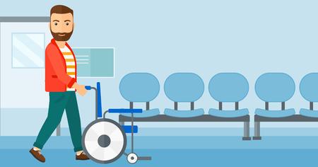 Een hipster man met de baard duwen lege rolstoel op de achtergrond van het ziekenhuisgang vector platte ontwerp illustratie. Horizontale lay-out.