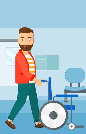 Een hipster man met de baard duwen lege rolstoel op de achtergrond van het ziekenhuisgang vector platte ontwerp illustratie. Verticale lay-out.