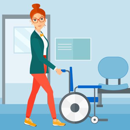 Een vrouw duwen lege rolstoel op de achtergrond van het ziekenhuisgang vector platte ontwerp illustratie. Vierkante lay-out.
