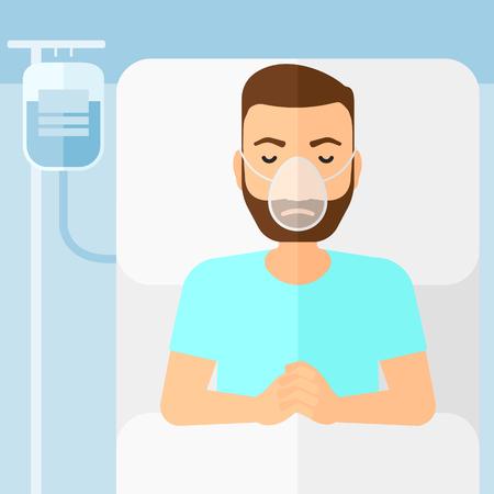 수혈하는 동안 산소 마스크 병원 침대에 누워 수염을 가진 hipster 남자 벡터 평면 디자인 일러스트 레이 션. 사각형 레이아웃.