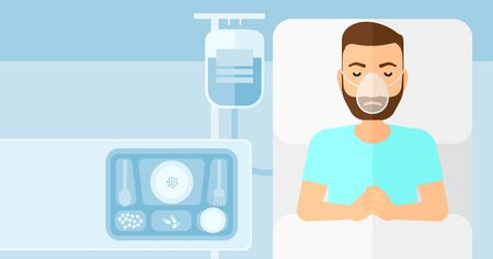 reanimation: A hipster man with the beard lying in hospital bed with oxygen mask while blood transfusion is running vector flat design illustration. Horizontal layout. Illustration
