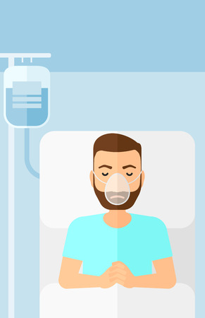 reanimation: A hipster man with the beard lying in hospital bed with oxygen mask while blood transfusion is running vector flat design illustration. Vertical layout.