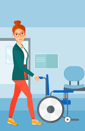 pushing: A woman pushing empty wheelchair on the background of hospital corridor vector flat design illustration. Vertical layout.
