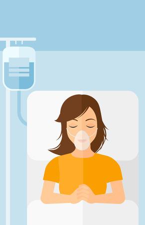 수혈하는 동안 산소 마스크 병원 침대에 누워있는 여자 벡터 평면 디자인 일러스트 레이 션. 세로 레이아웃.