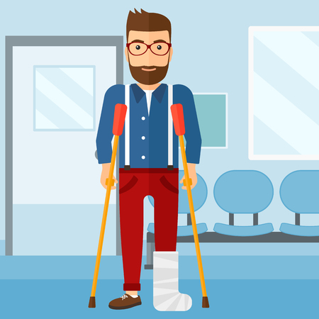 An injured hipster man with broken leg standing with crutches on the background of hospital corridor vector flat design illustration. Square layout.