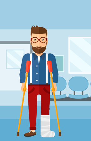 hospital corridor: An injured hipster man with broken leg standing with crutches on the background of hospital corridor vector flat design illustration. Vertical layout. Illustration