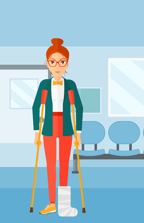 leg bandage: An injured woman with broken leg standing with crutches on the background of hospital corridor vector flat design illustration. Vertical layout.