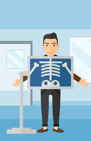 xray: A man with x-ray screen showing his skeleton on the background of medical office vector flat design illustration. Vertical layout. Illustration