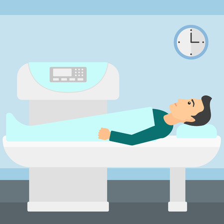 procedure: A man undergoes an open magnetic resonance imaging scan procedure in hospital vector flat design illustration. Square layout.