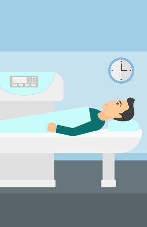A man undergoes an open magnetic resonance imaging scan procedure in hospital vector flat design illustration. Vertical layout.