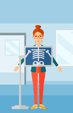 xray: A woman with x-ray screen showing her skeleton on the background of medical office vector flat design illustration. Vertical layout.