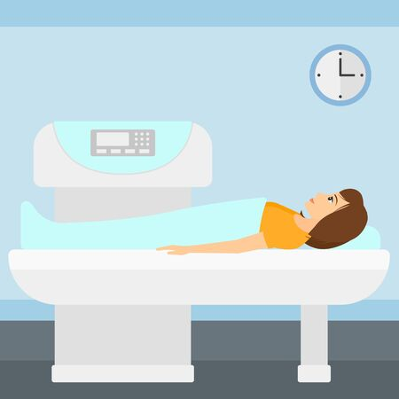 xray machine: A woman undergoes an open magnetic resonance imaging scan procedure in hospital vector flat design illustration. Square layout.