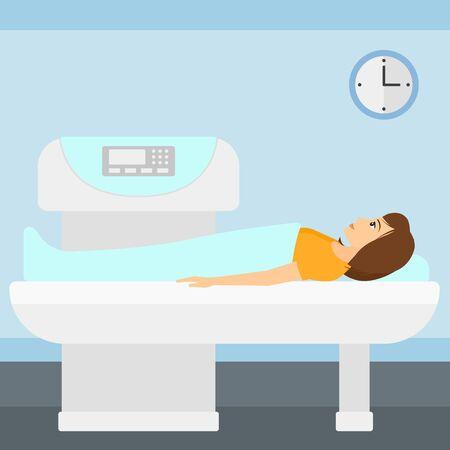 resonancia magnetica: Una mujer se somete a un procedimiento de examen de resonancia magn�tica abierta en el vector del hospital ilustraci�n dise�o plano. de planta cuadrada.