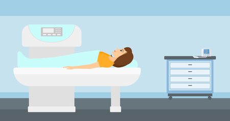 x ray image: A woman undergoes an open magnetic resonance imaging scan procedure in hospital vector flat design illustration. Horizontal layout.