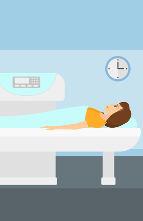 A woman undergoes an open magnetic resonance imaging scan procedure in hospital vector flat design illustration. Vertical layout.