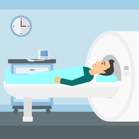 A man undergoes an magnetic resonance imaging scan test in hospital vector flat design illustration. Square layout.