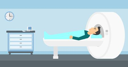 tomography: A man undergoes an magnetic resonance imaging scan test in hospital vector flat design illustration. Horizontal layout.
