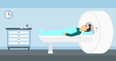 magnetic resonance imaging: A man undergoes an magnetic resonance imaging scan test in hospital vector flat design illustration. Horizontal layout.