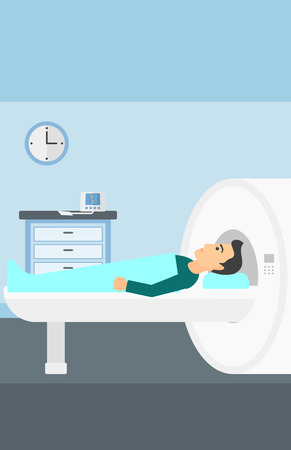 resonance: A man undergoes an magnetic resonance imaging scan test in hospital vector flat design illustration. Vertical layout.