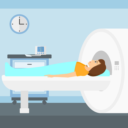 magnetic resonance imaging: A woman undergoes an magnetic resonance imaging scan test in hospital vector flat design illustration. Square layout.