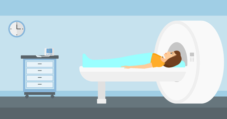 ct scan: A woman undergoes an magnetic resonance imaging scan test in hospital vector flat design illustration. Horizontal layout.