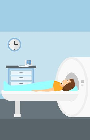 A woman undergoes an magnetic resonance imaging scan test in hospital vector flat design illustration. Vertical layout. Иллюстрация