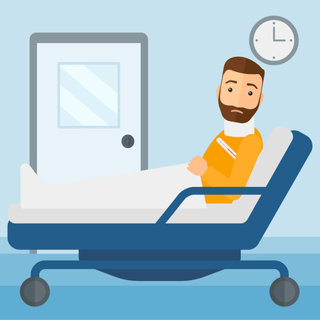 ward: A hipster man with injured neck lying in bed in hospital ward vector flat design illustration. Square layout.